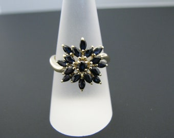 c806 Gorgeous Starburst Marquise Sapphire Ring in 10k Yellow Gold