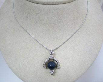 a399 Unique Vintage Lapis & Diamond Necklace 10k Multi Tone Gold 14k WG Chain