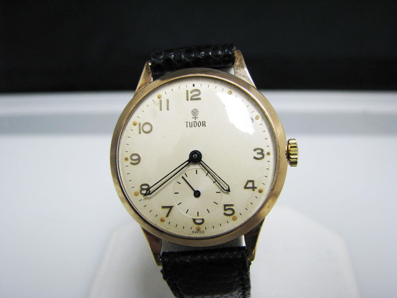Vintage Tudor Watches >> J125 Handsome Vintage 1950 S 10k Yg Tudor Watch With Black Leather Band