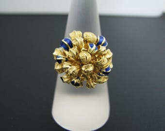 c495 Unique Chrysanthemum Ring with Blue Enamel in 18k Yellow Gold