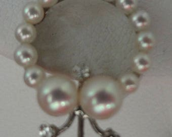 a1032 BRIDAL EARRING NECKLACE set - Handmade, Diamonds, Pearls, Aquamarine