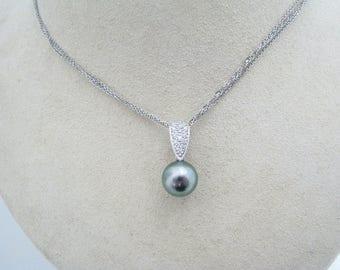 a375 Vintage Alluring Tahitian Pearl Pave Diamond Bail Pendant on 14k WG Chain