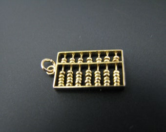 c745 Nice Small Abacus 3d Charm/ Pendant in 14k Yellow gold