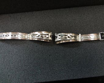 a764 Beautiful Vintage Sterling Silver and 10k Womens Watch Band