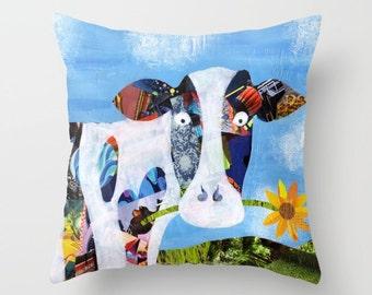 Cow gift, Cow Pillow, Mother's day gift, Cow throw pillow, Cow accent pillow, Farm decor, Bohemian decor, Farmhouse decor, Country decor