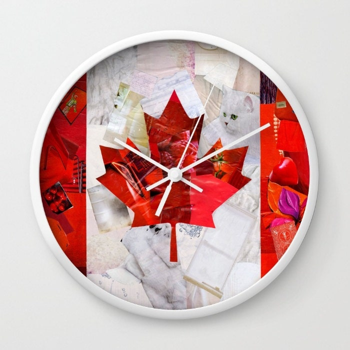 Canada Flag Wall Clock Canadian Decorative Clock Mixed Media Etsy