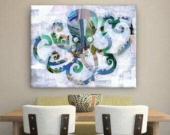 Octopus wall art, beach decor, bohemian decor, Mixed media collage art, Octopus print, Octopus painting