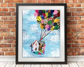 Up Movie, Up House wall art, Adventure gifts, Mother's day gift ideas, Adventure Awaits, Up adventure, Artpoptart