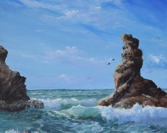 "Sea Stacks 24""x36"" original"
