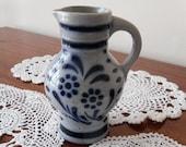 Salt Glazed Pottery Stoneware Pitcher Ceramic Crock Pitcher Germany Creamer Blue Grey Pottery Floral Pottery Kitchen Server German Stein