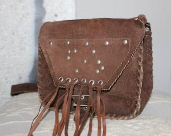 c08387379a97 Leather Suede Bag Fringe Cowgirl Leather Hippie Bag Brown Fringed Handbag  Boho Bohemian Shoulder Bag Womens Purse Crossbody Hard Case Purse