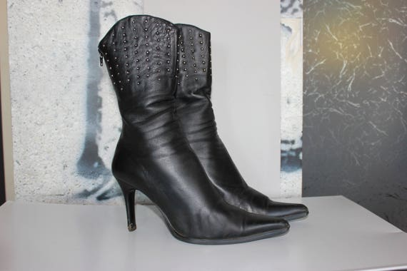 Leather Boots Womens Ankle Boots Fitted Rivets Tal