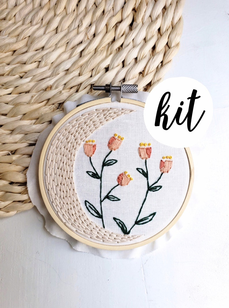 Embroidery Kit Flower Floral Embroidery DIY Gift Flower Basket Mothers Day Gift Embroidery Kit Floral Bouquet Embroidery Kit Beginner
