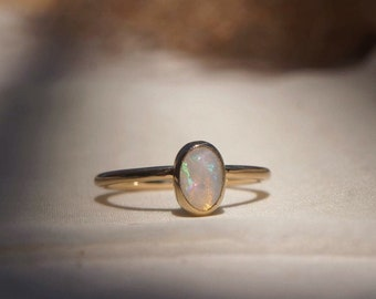 Opal Ring, Solid 14k Gold Ring with Opal, Opal Dainty Ring 14k Gold, Handcrafted Opal Jewelry, Gold Opal Ring Gift, Women Jewelry Gift Ring