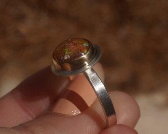 Opal Silver Ring, Sterling Silver 14k Gold Mexican Opal, Opal Statement Ring Sterling Silver, Handcrafted Opal Jewelry, Women Jewelry Gift