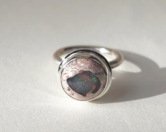 Opal Silver Ring, Sterling Silver Ring with Mexican Opal, Opal Statement Ring Sterling Silver, Handcrafted Opal Jewelry, Women Jewelry Gift