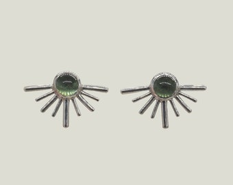 Post Earrings, Silver Sun Earrings, Green Tourmaline Stud Earrings, Unique Earring for Women, Stud Earrings Women, Thoughtful Mothers Gift