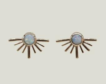 Post Earrings, 14k Gold Earrings, Opal Stud Earring, Opal Sun Jewelry, Unique Earrings for Women, Gold Earrings, Dainty Gold Earrings, Mommy