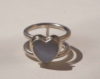 Blue Lace Agate Stone Ring, Silver Statement Ring, Bold Silver Ring, Heart Jewelry, Agate Heart Ring Jewelry, Modern Ring, Bold Agate Ring