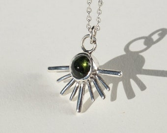 Silver Green Tourmaline Necklace, Silver Sun Charm Necklace, Minimalist Layer, Dainty Necklace, Jewelry, Unique Necklace for Women, Wife Sun