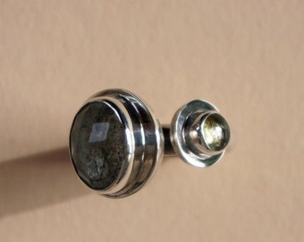 Aquamarine / Tourmaline Stone Ring, Silver Statement Ring, Bold Silver Ring, Bold Aquamarine Jewelry, March Birthstone Jewelry, Bold Ring