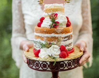Gold Love Wedding Cake Topper Cursive Gold Leaves Calligraphy Decor