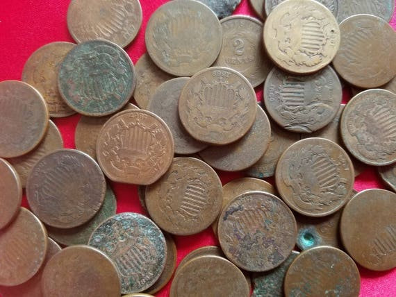 Two Cent CULL Coin 1 2 Cent Piece Old Antique Money Early U.S 1864-1873