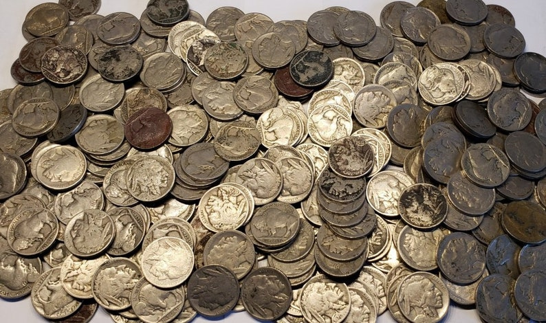 Lot of 40 Old U S  Buffalo Nickel Low Grade CULL Coins // 1913-1938 // 1  Roll