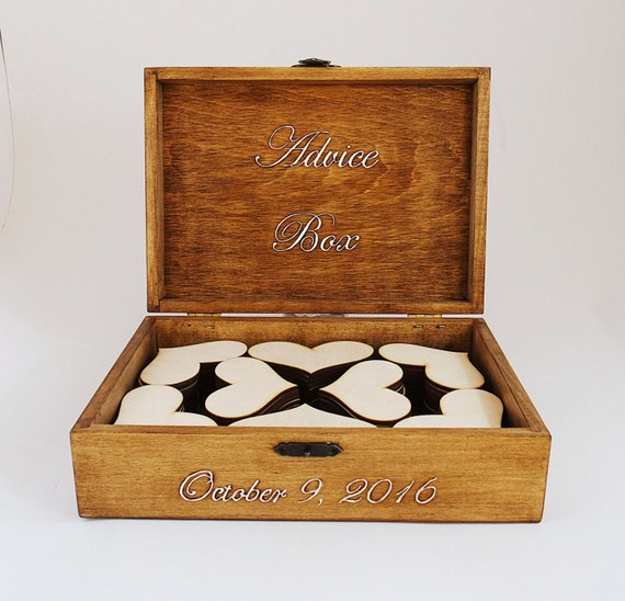 Lockable Wooden Wedding Card Box Personalised Post Box with key lock Wedding Memory Case Slot Box for Wooden Hearts Tags Guest Wishes