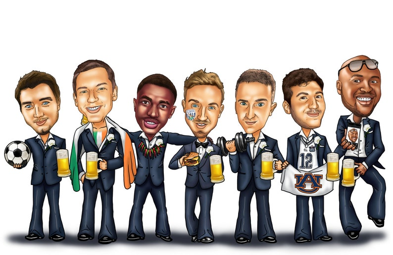 Groomsmen Gifts  8 Person Groomsmen Group Caricature with image 0