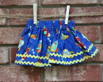 Baby - Blue Skirt with Rockets and Yellow trim