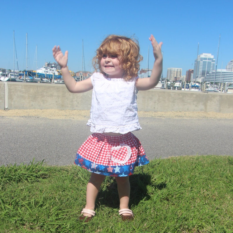 Baby Red Gingham  Knee Length Skirt wlace trimmed heart pocket