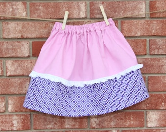 Toddler - Pink/Purple toddler skirt trimmed with lace. 4T