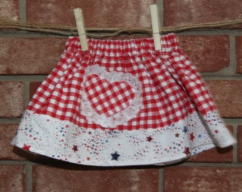 Baby - Red Gingham Skirt trimmed with Stars and a liace trimmed pocket