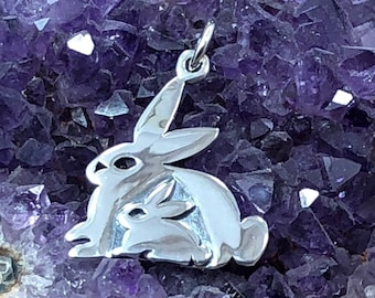4pcs-3D Bunny in Basket charm,silver Easter charm,holiday charm