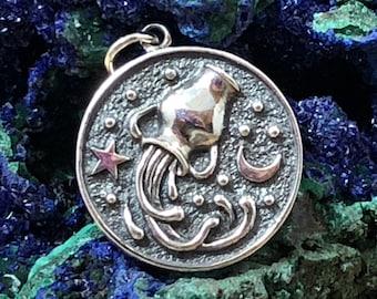 AQUARIUS Sterling Silver Zodiac Pendant Charm