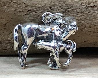 Stallion Horse Pendant .925 Sterling Silver Animal Horseshoe Running Luck Charm