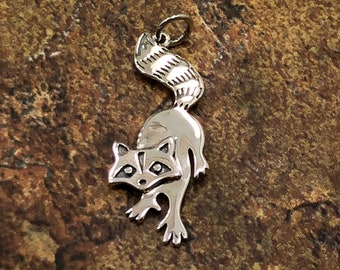 Sterling Silver Oxidized Three Dimensional Long Tail Raccoon Charm