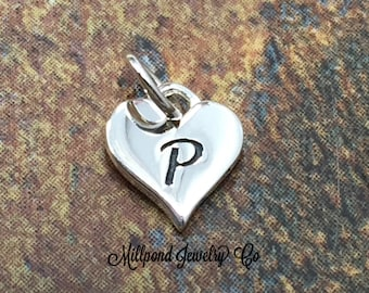 4 Letter P Greek charms rhodium plated M483