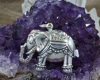 63eec683e Elephant Charm, Lucky Elephant Charm, Indian Elephant Charm, Thai Elephant  Charm, Sterling Silver Charm, Silver Pendant