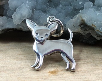Sterling Silver 3-D Sitting Chihuahua Dog Charm