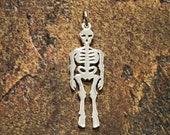 Skeleton Charm, Skeleton Pendant, Sterling Silver Charm, Silver Pendant, Bones, Skeletons, Halloween Charm, Dia de los Muertos Charm