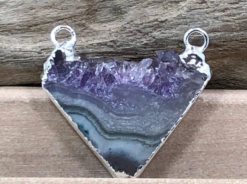 Natural Stone Pendants Amethyst Triangle Connector Amethyst Pendant Silver Plated AD Amethyst Pendant Amethyst Connector