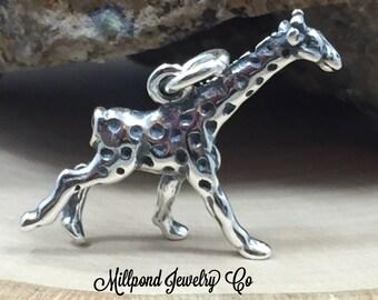 Giraffe Charm, Giraffe Pendant, Sterling Silver Giraffe Charm, Animal Lover Charm, Animal Charm, Zoo Charm, Small,  PS3165