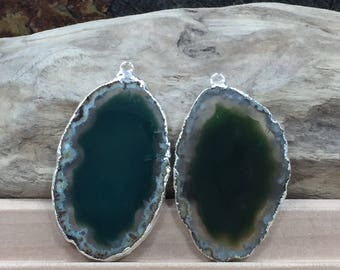 Green Agate Slice, Green Agate Slice Pair, Green Geode Slice Pair, Green Geode Slice, Green Agate Slice, Dyed, Silver Plated, B