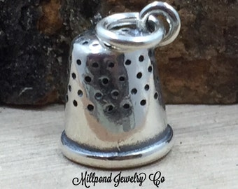 Thimble Charm, Sewing Charm, Seamstress Charm, Sterling Silver Charm, PS31110