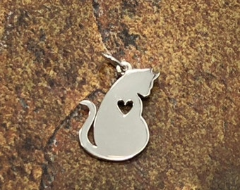 Sterling Silver Mommy Cat Charm with Heart Cutout, Cat Silhouette Charm, Cat Charm with Heart, Sterling Silver Cat Charm, Animal Lover Charm