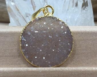 Round Druzy Pendant, Round Cluster Pendant, Agate Druzy Pendant, 18K Gold, Natural, PG0937P