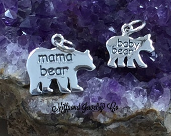 Baby and Mama Bear Charm Set, Baby Bear, Mama Bear, Bear Pendant, Sterling Silver Charm, California Bear Charm