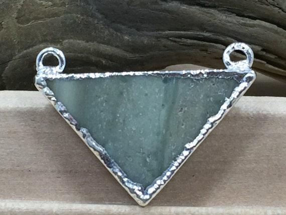 Connecteur Triangle Jasper, connecteur Triangle, pendentif en plaqué argent, choisissez votre pendentif, PS0917B